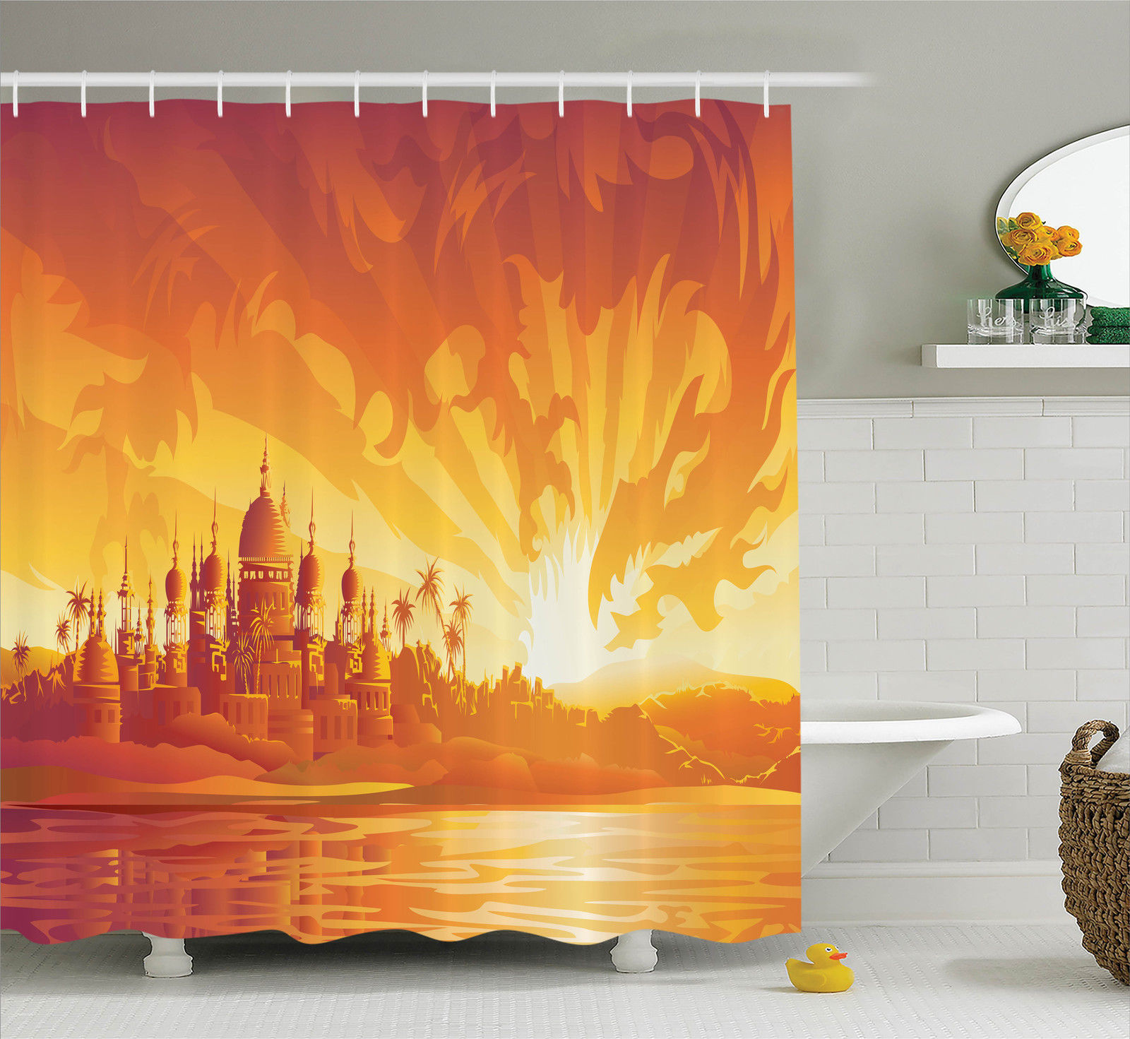 Dragon Bathroom Accessories Asian Decor Golden City Under Dragon Fire Sky Palace