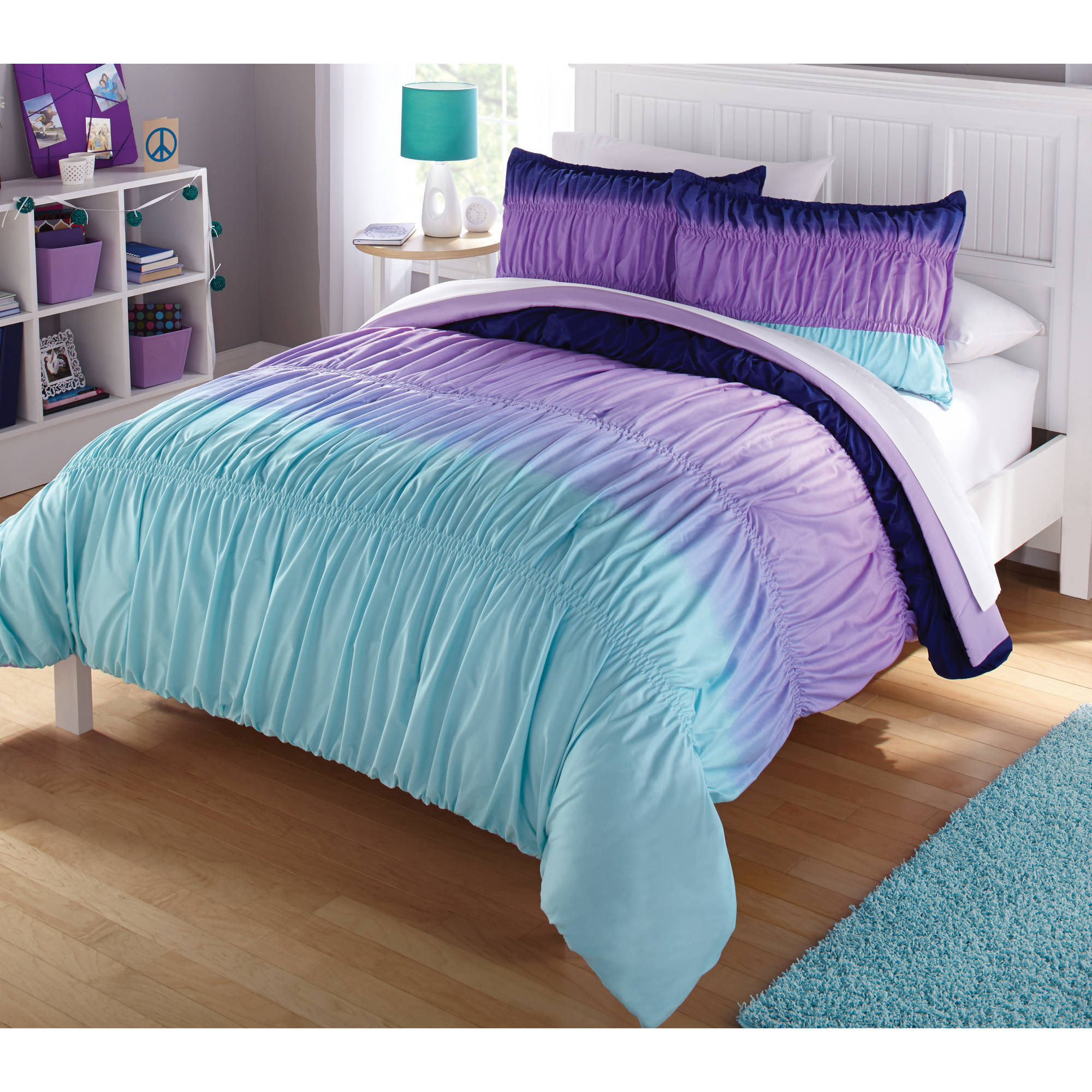Latitude ombre ruched reversible complete bedding set purple walmart com