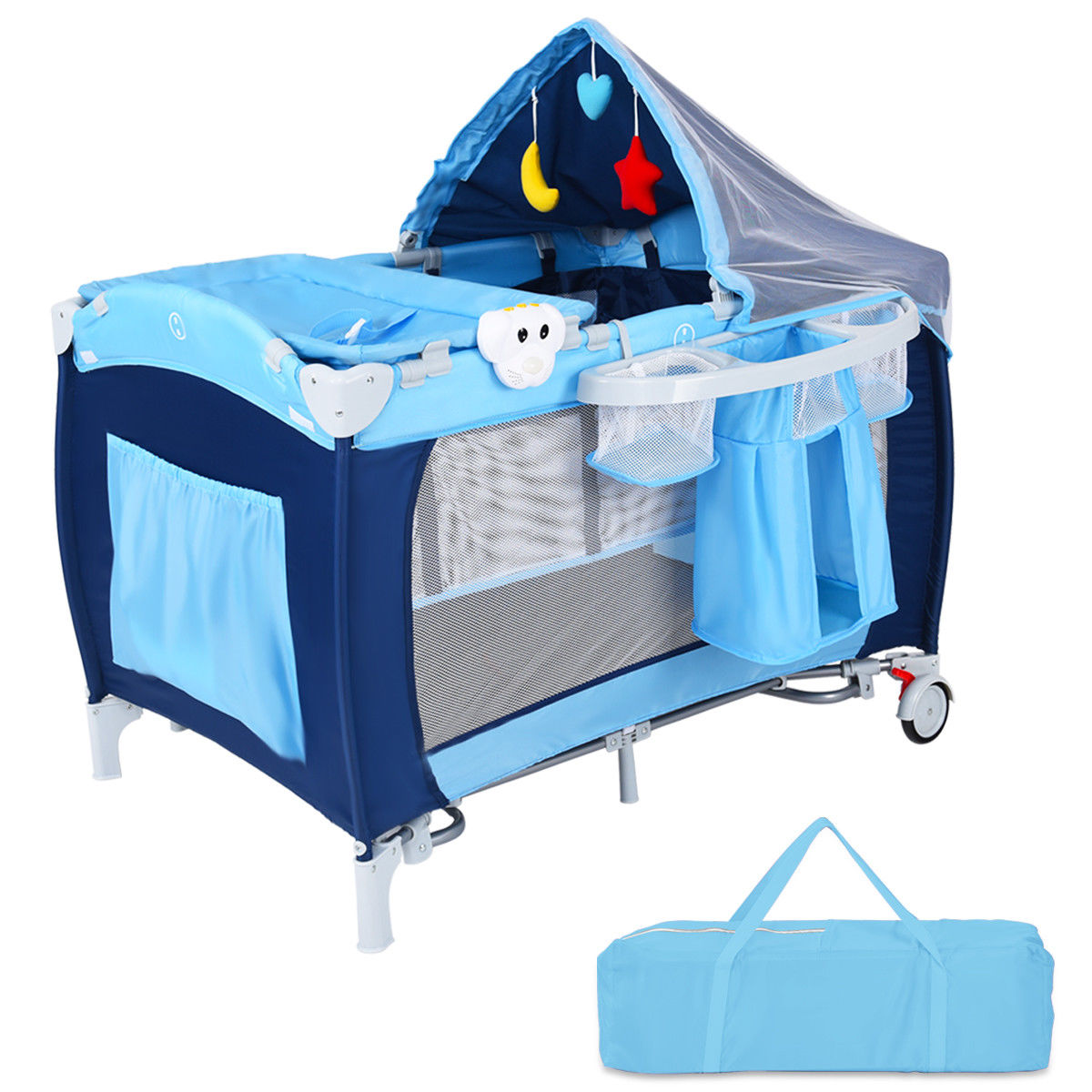 Baby Playpen How Costway Foldable Baby Crib Playpen Travel Infant Bassinet Bed Mosquito Net Music W Bag