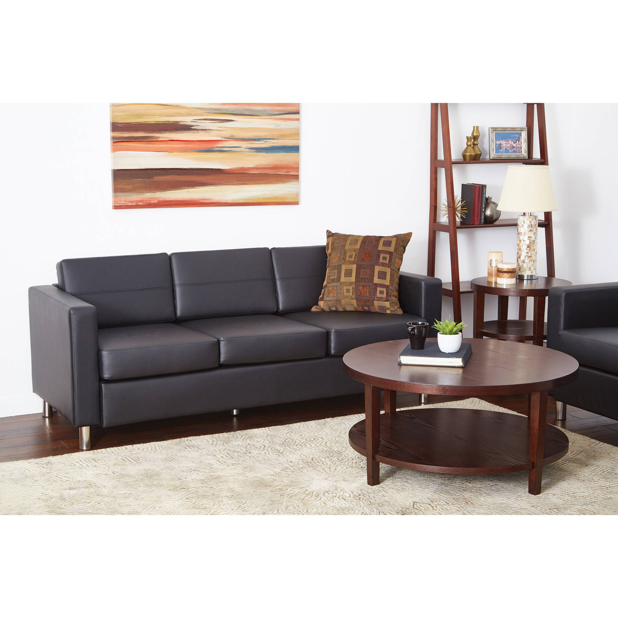 Faux Leather Sofa In A Box Pacific Faux Leather Sofa Couch With Box Spring Seats Black
