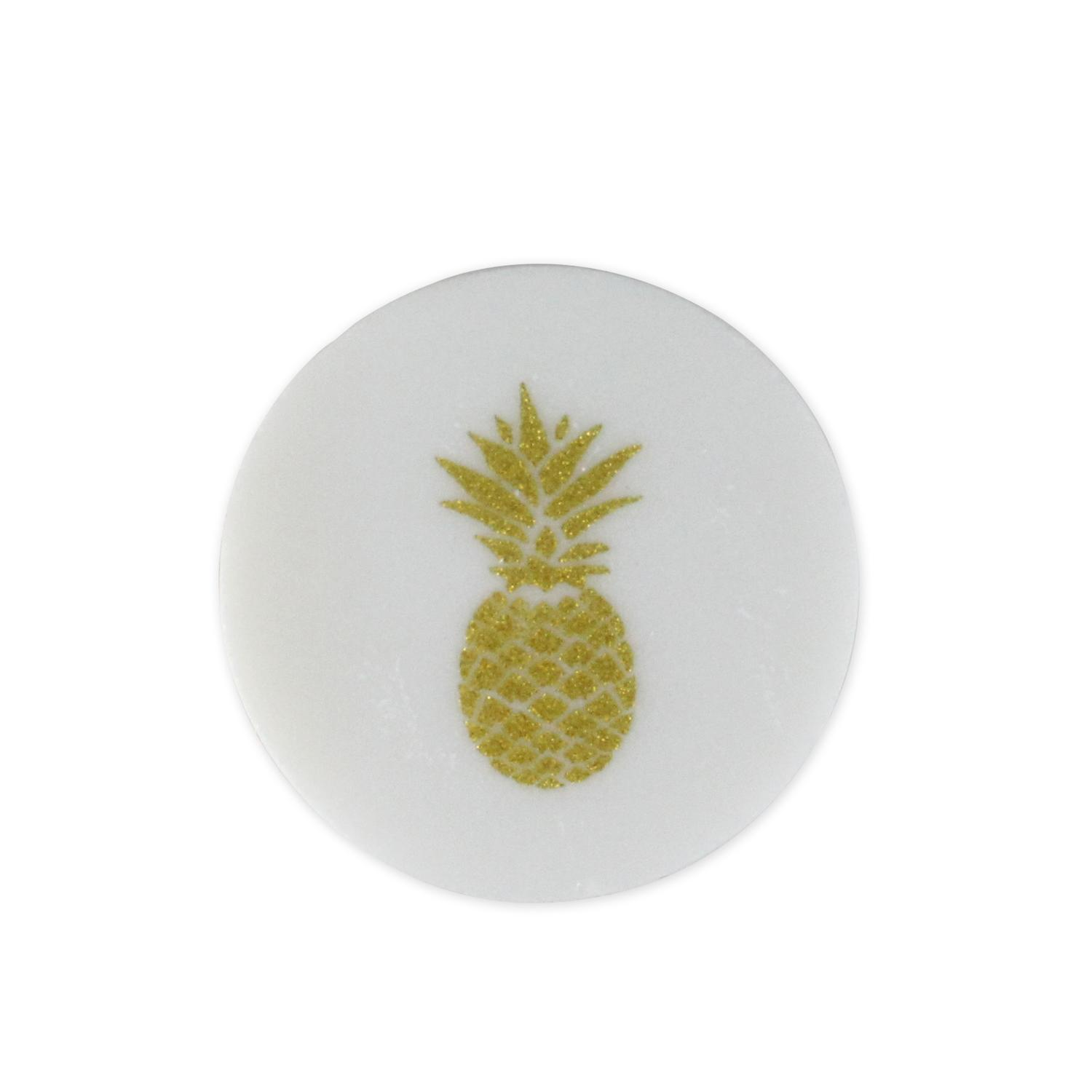 White And Gold Coasters Set Of 4 White And Gold Glittered Pineapple Tropical