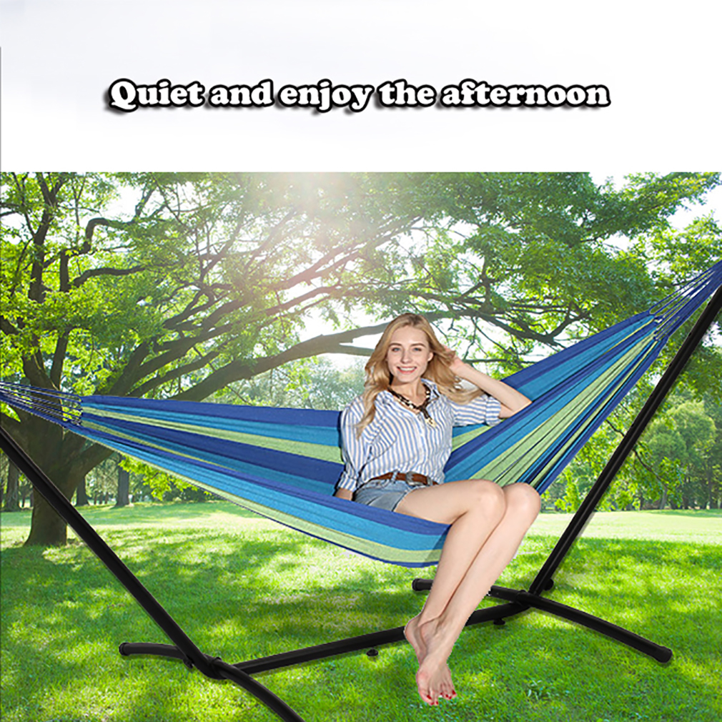 1 2 Person Hammock With Space Saving Steel Stand W Carrying Case Outdoor Garden Hammocks Uniforce Home Garden