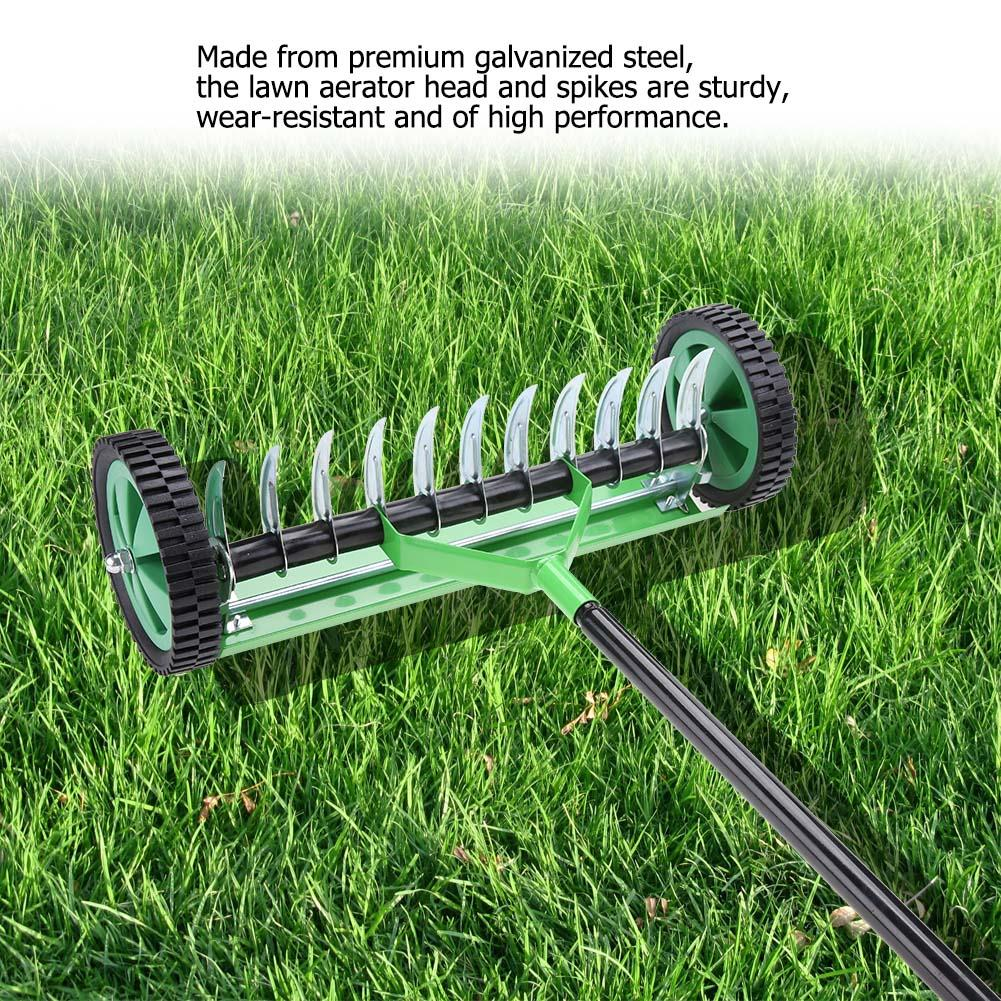 Grass Aerator Yosoo Garden Lawn Aerator Lawn Spike Roller Outdoor Garden Lawn Aerator With Long Handle Spike Type Heavy Duty Steel Grass Roller