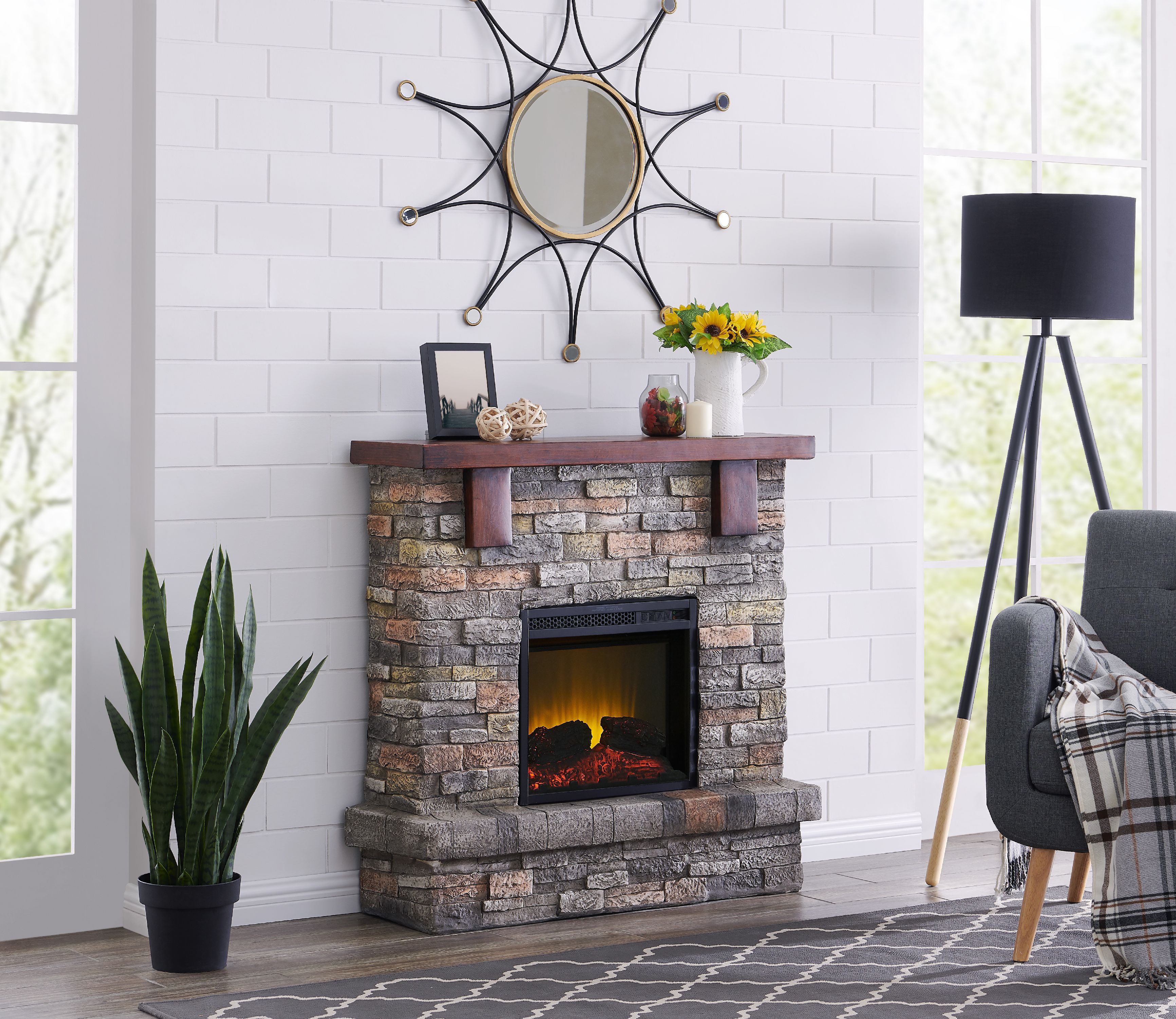 Gas Vs Electric Fireplace Pros And Cons Bold Flame 40 Inch Faux Stone Electric Fireplace In Brown