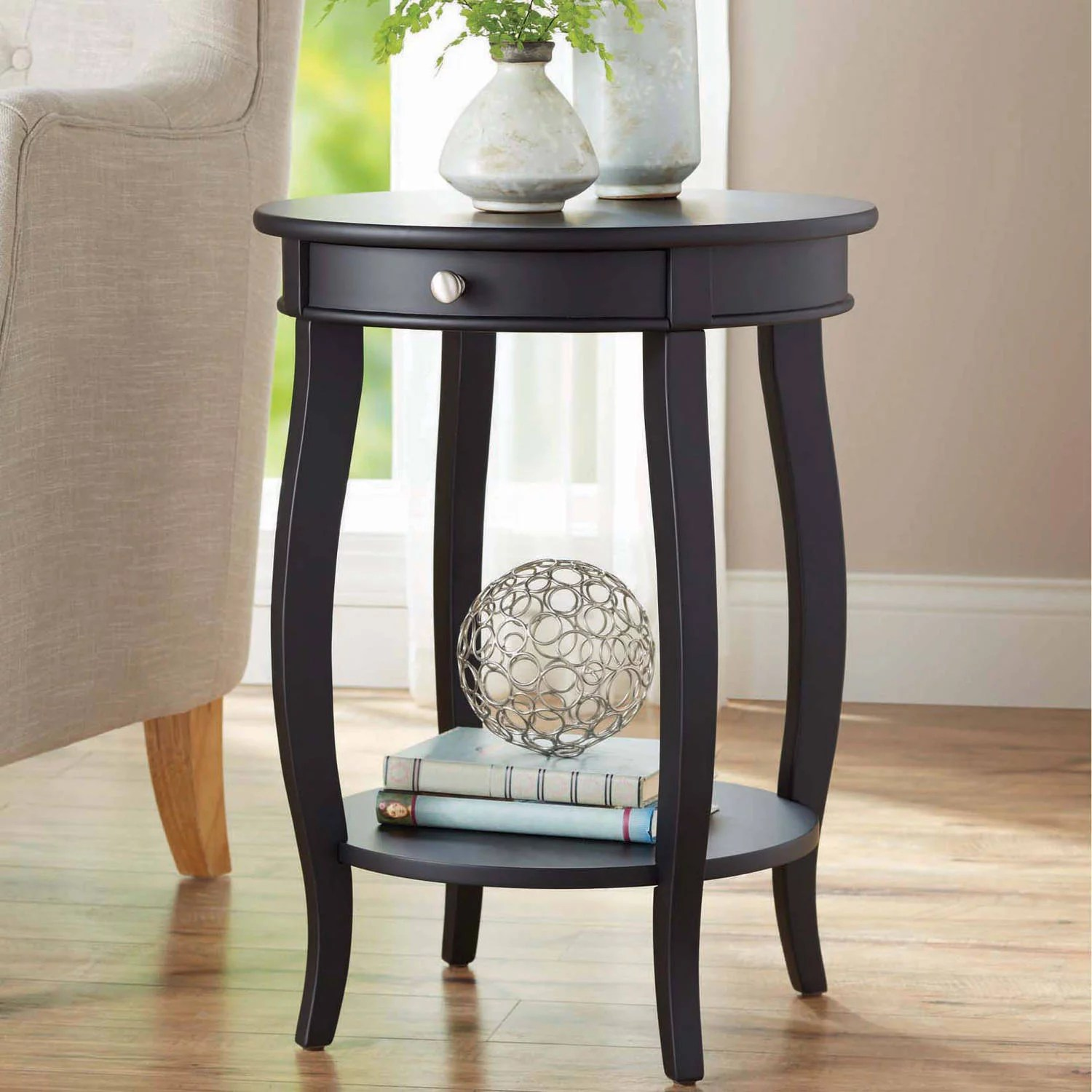 Black End Tables With Drawer Better Homes Gardens Round Accent Table With Drawer Multiple Colors