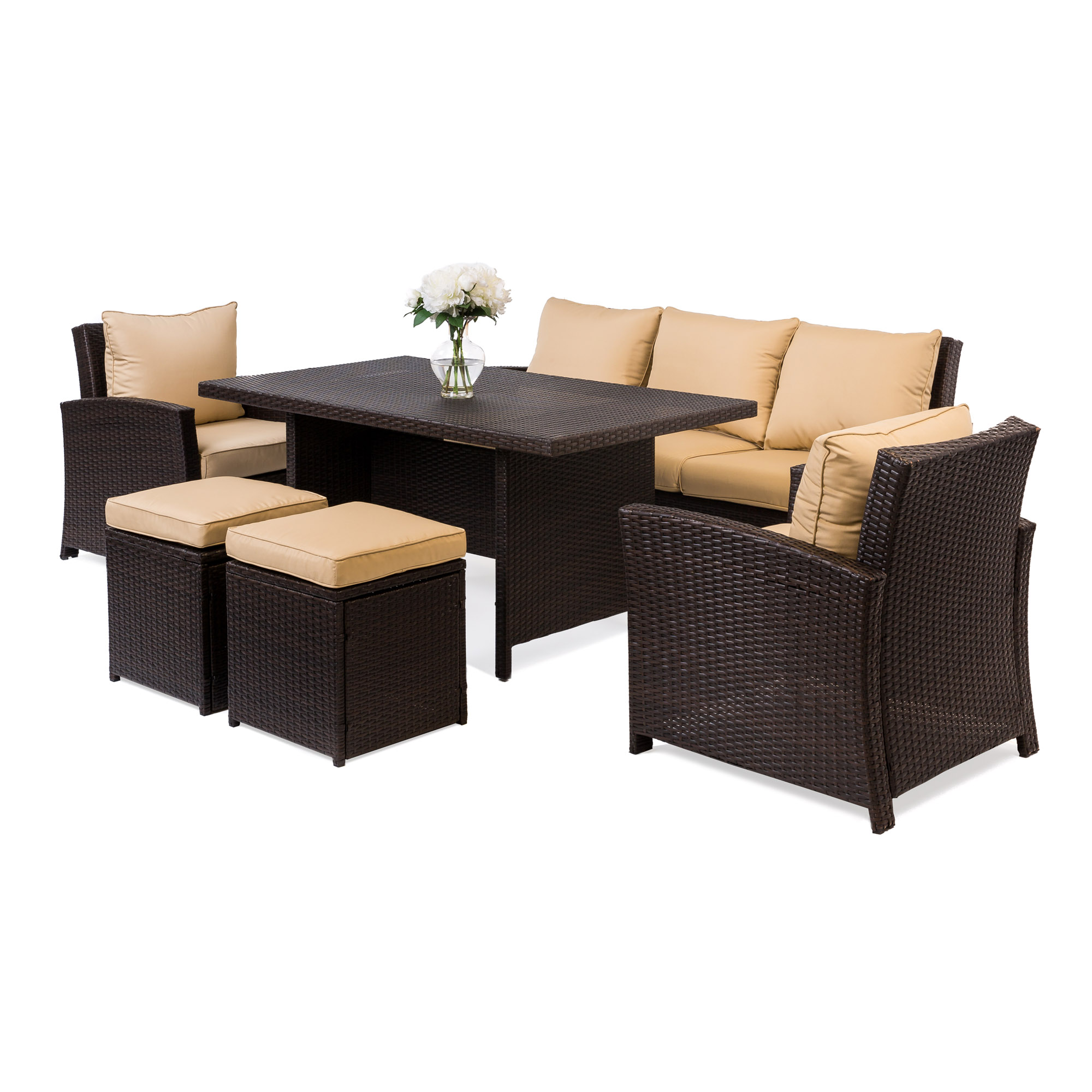Dinner Sofa Best Choice Products 6 Piece Modular Patio Wicker Dining Sofa Set Weather Resistant Outdoor Living Furniture W 7 Seats Cushions Brown