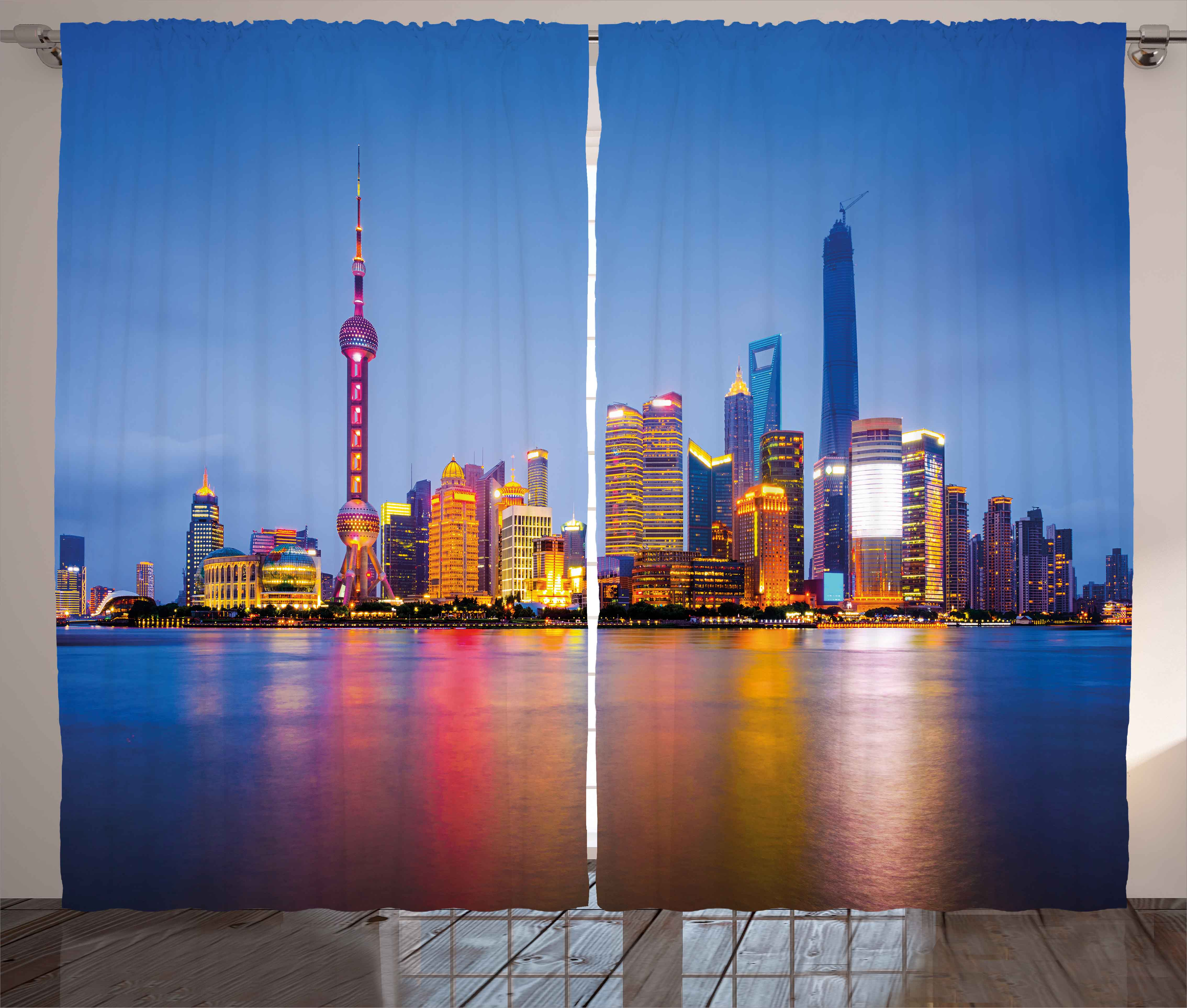 China Blue Curtains Urban Curtains 2 Panels Set City Skyline Of Shanghai China On Huangpu River Dusk Famous Travel Destination Window Drapes For Living Room Bedroom