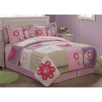 Pink Butterfly Flower Bedding Quilt Set - Walmart.com