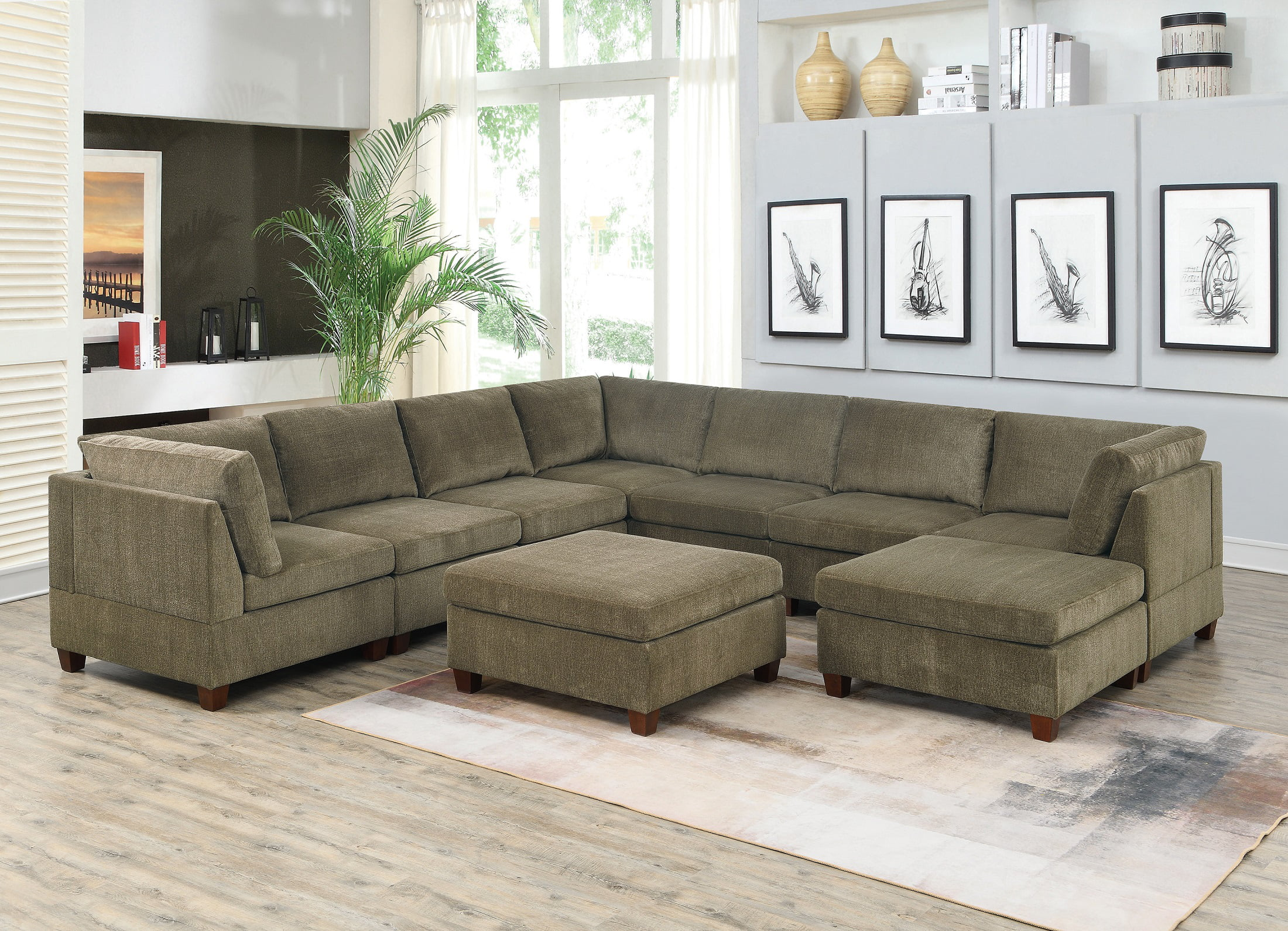 Contemporary Modern Unique Modular 9pc Sectional Sofa Set Tan Color Chenille Fabric Wood Legs 3 X Corner Wedge 4x Armless Chairs And 2 X Ottoman Walmart Com Walmart Com
