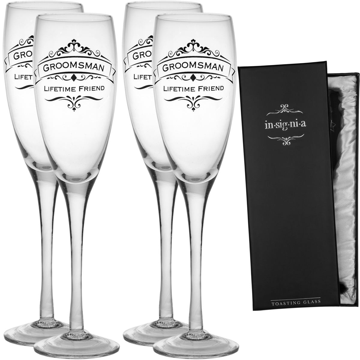 Champagne En Gros Enesco Set Of 4 Wedding Champagne Flute Toasting 11oz Glass Set Pack For Bridesmaids Groomsmen
