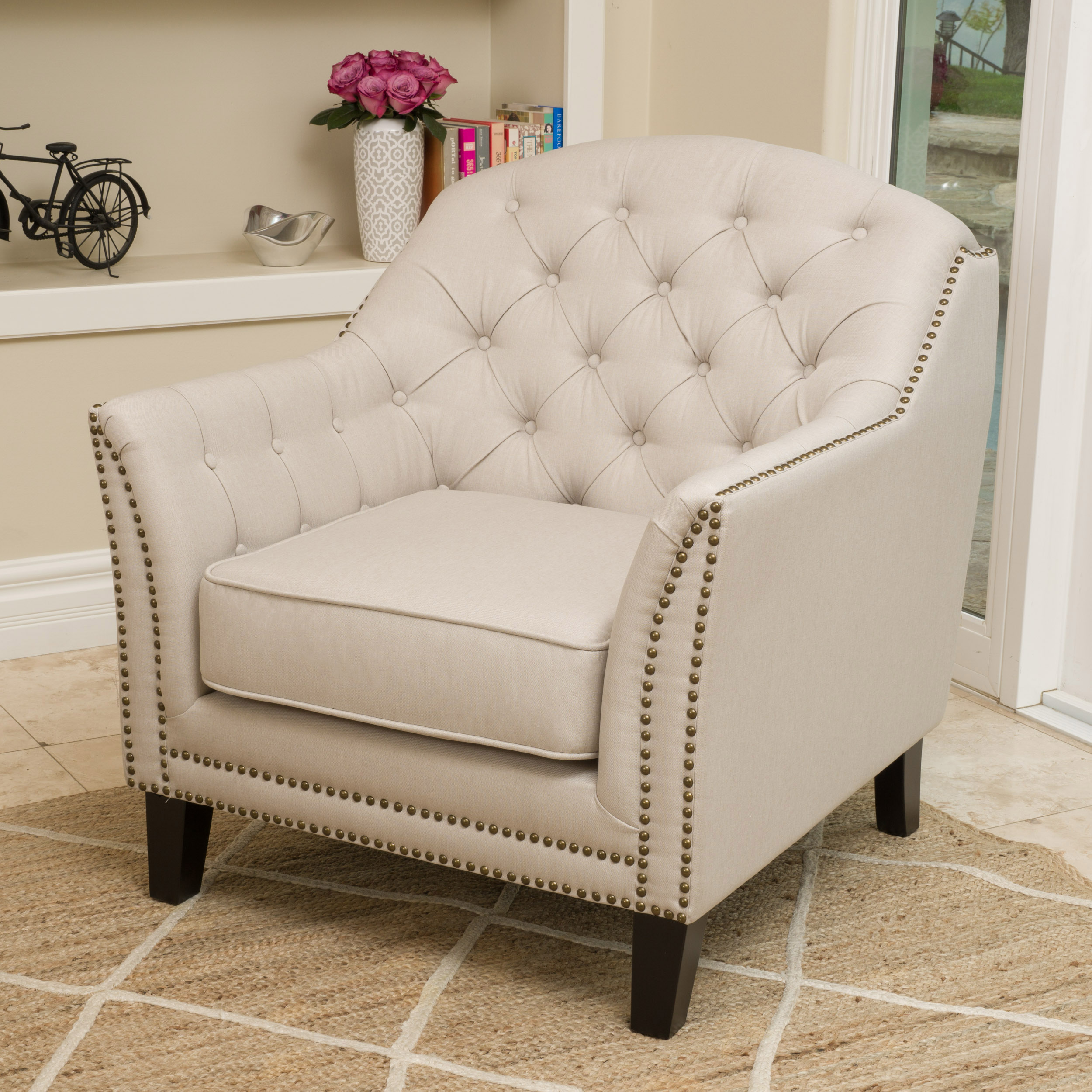 Noble House Furniture Noble House Benjamin Beige Fabric Club Accent Chair