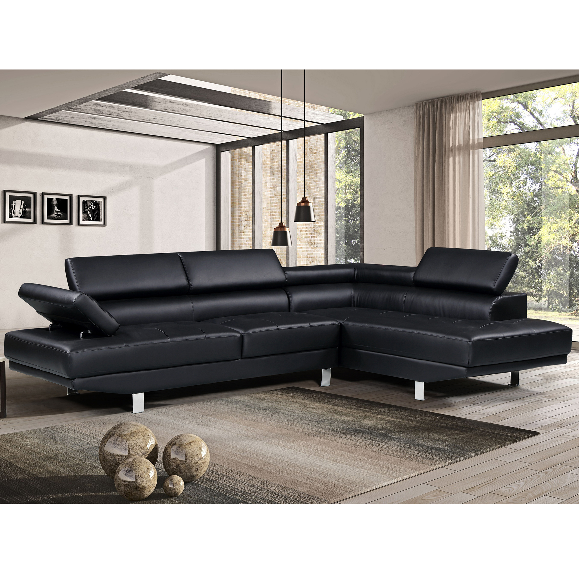 Faux Leather Sofa In A Box Harper Bright Designs Modern Faux Leather Sectional Sofa With Adjustable Headrest And Functional Armrest