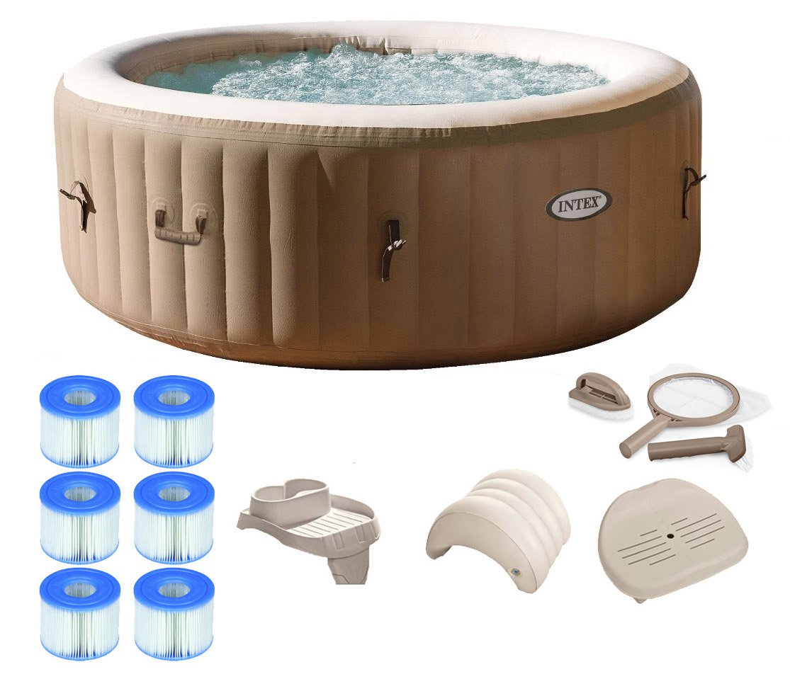Pool Zubehör Intex Intex Purespa 4 Person Inflatable Portable Hot Tub Spa Package W Filter Parts