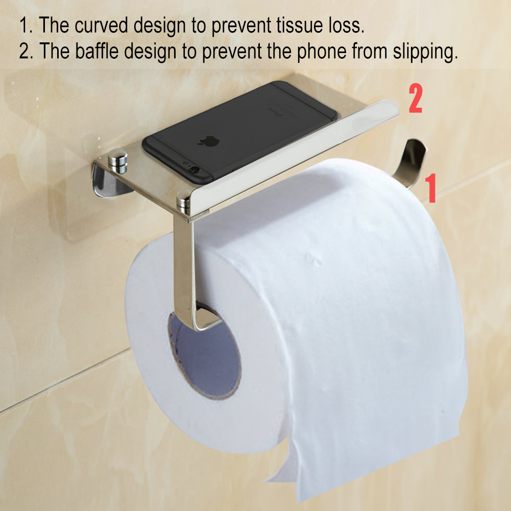 Toilet Paper Holder Unique Bathroom Tissue Holder With Phone Shelf Angle Simple Sus304 Stainless Steel Toilet Paper Holder With Shelf Toilet Roll Bath Paper Roll Holder Shelf