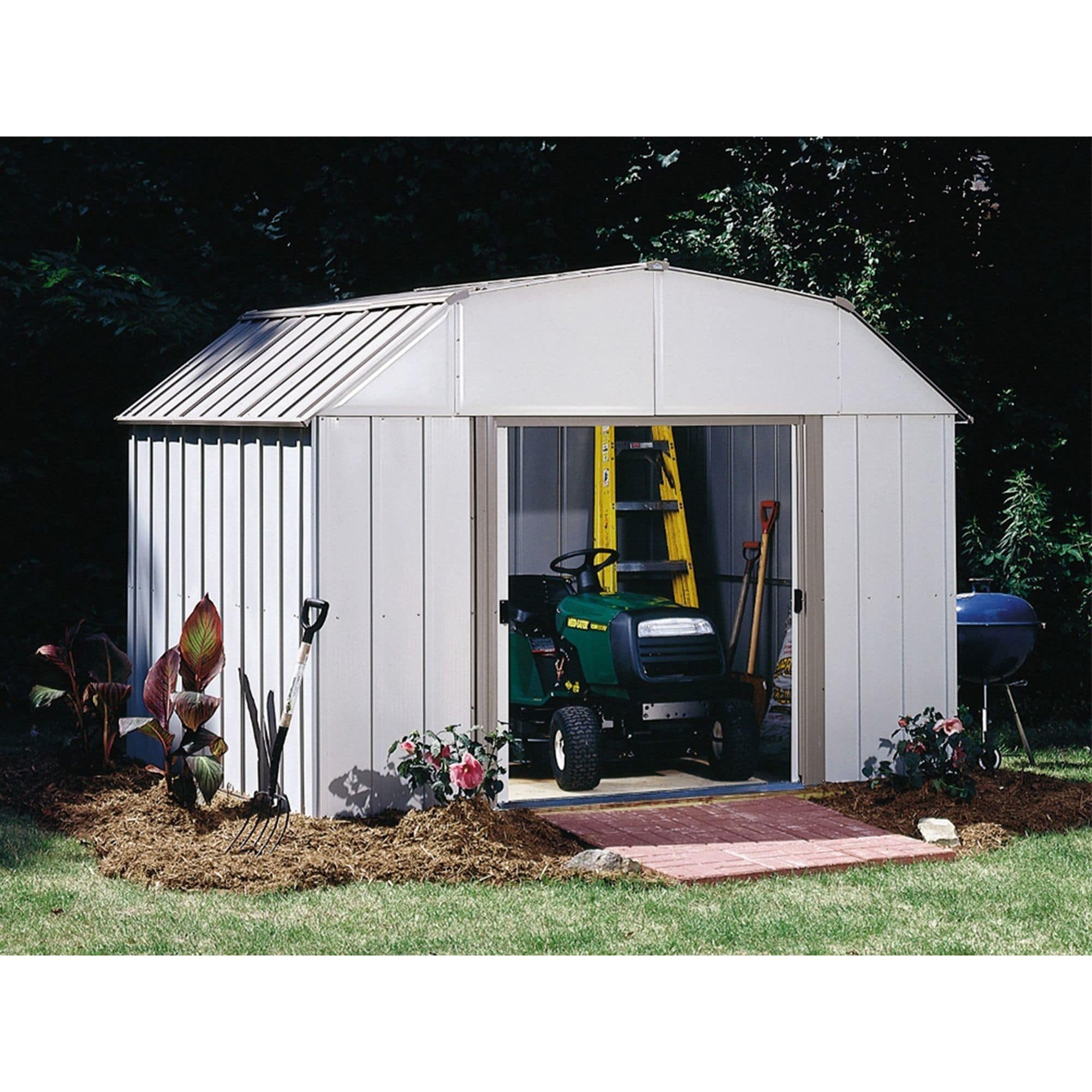 Steel Storage Sheds Lexington 10 X 8 Ft Steel Storage Shed Barn Style Taupe Eggshell