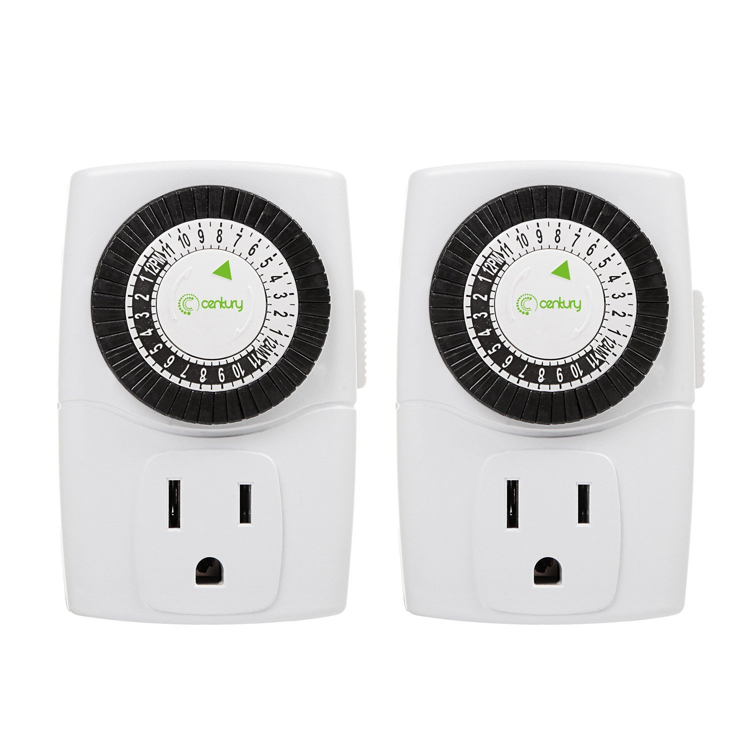 24 Outlet Century Indoor 24 Hour Mechanical Outlet Timer 3 Prong 2 Pack