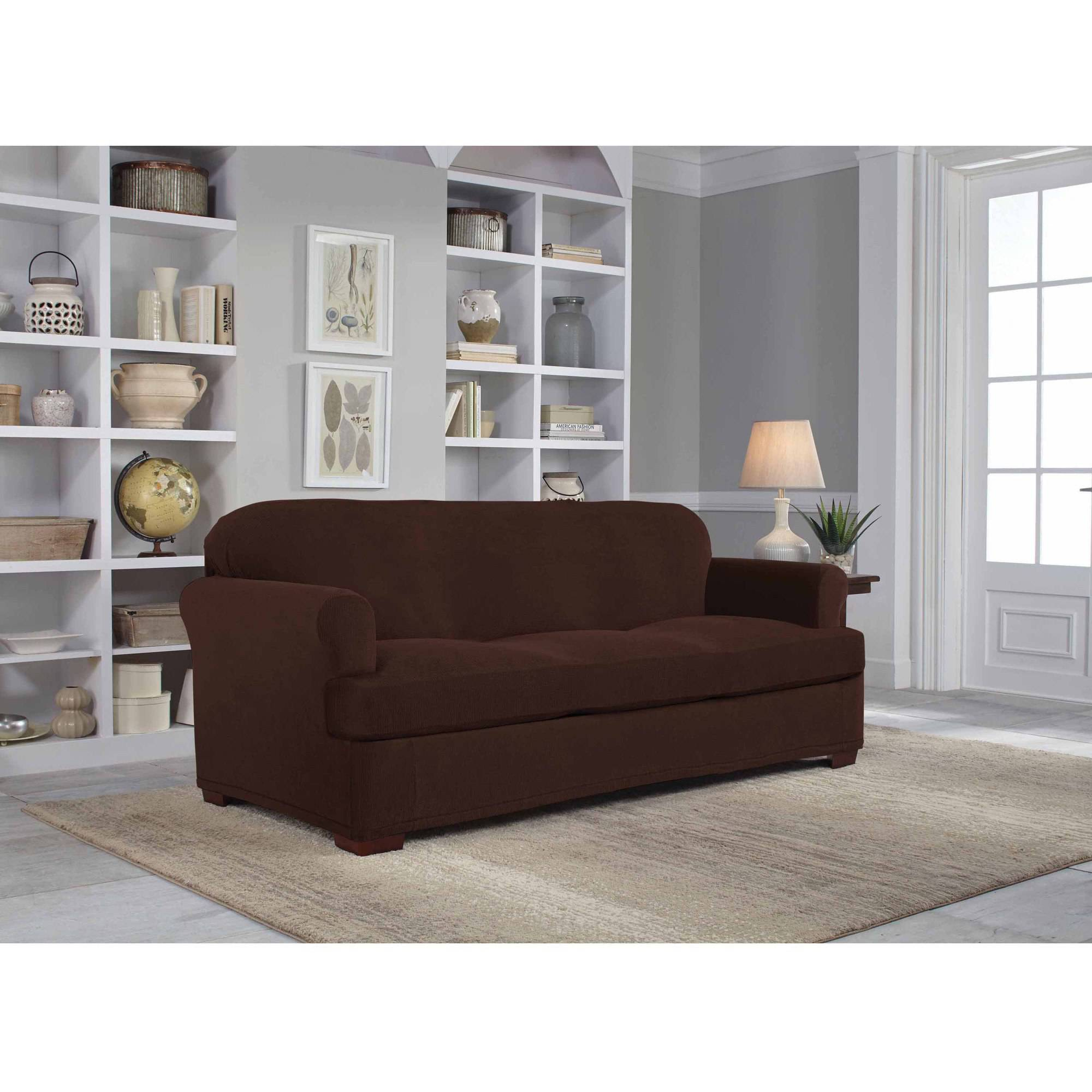 Fitted Slipcovers Couches Serta Stretch Grid Slipcover Sofa 2 Piece T Cushion