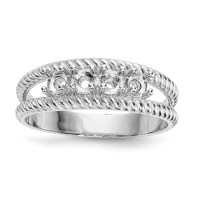 14k White Gold Polished Antiqued 4-Stone Mothers Ring ...