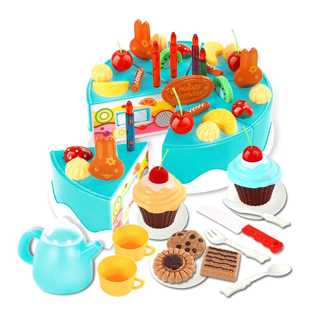 54pcs Plastic Kitchen Cutting Toy Birthday Cake Pretend