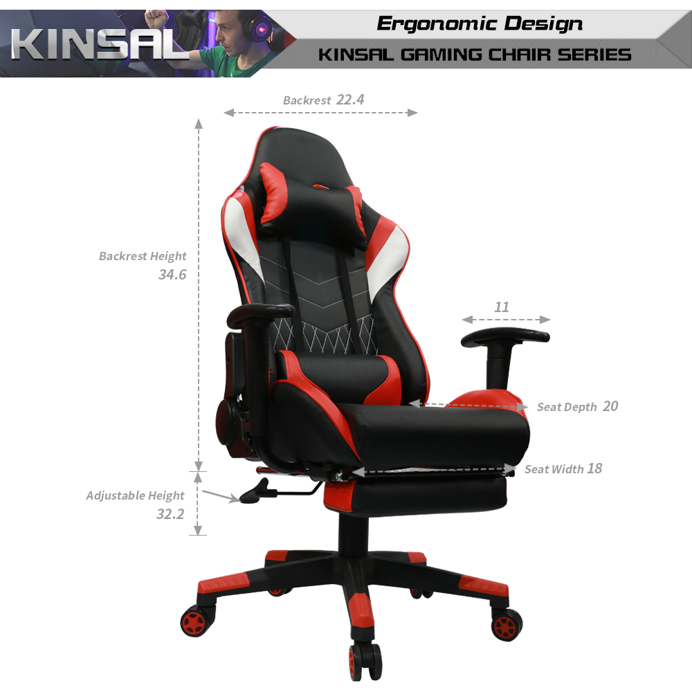 Computer Chair Ergonomically Correct Kinsal Gaming Chair With Footrest High Back Computer Chair Ergonomic Racing Chair Leather Premium Swivel Executive Office Chair Including Headrest