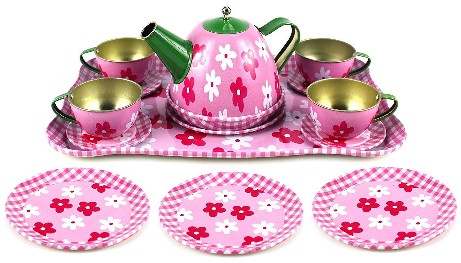 Tea Set Toy Flower Springtime Children S Kid S Full Metal Durable Pretend Play Toy Tea Set W Cups Tea Pot Plates Tray Styles May Vary