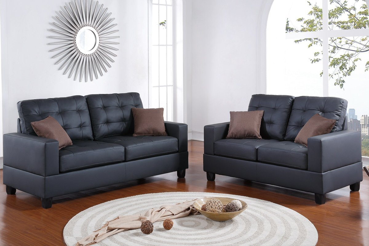 Brown Sofa And Loveseat Sets Bobkona Aria Faux Leather 2 Piece Sofa And Loveseat Set