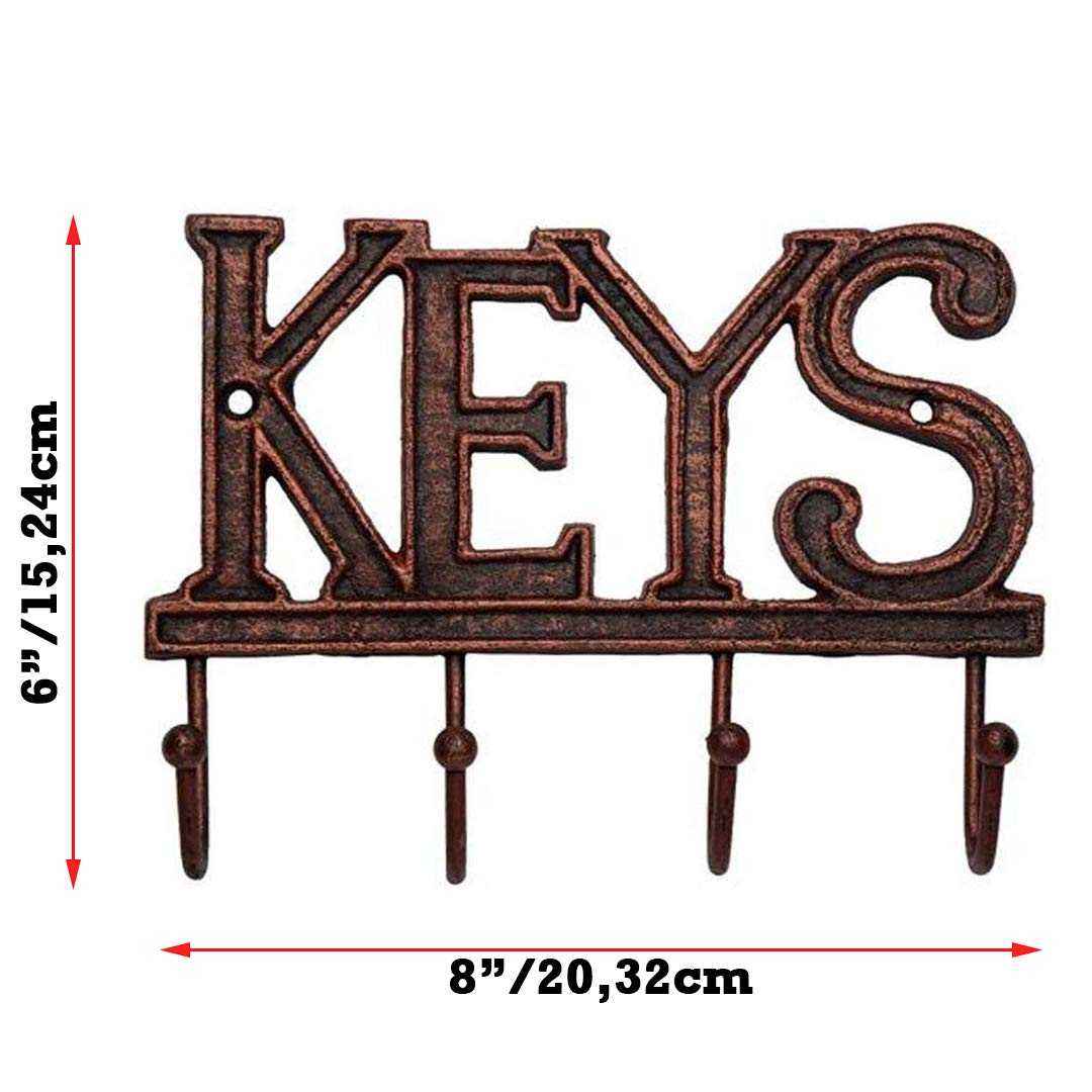 Home Key Holder For Wall Key Holder Keys Wall Mounted Key Hook Rustic Western Cast Iron Key Hanger Decorative Key Organizer Rack With 4 Hooks With Screws And Anchors