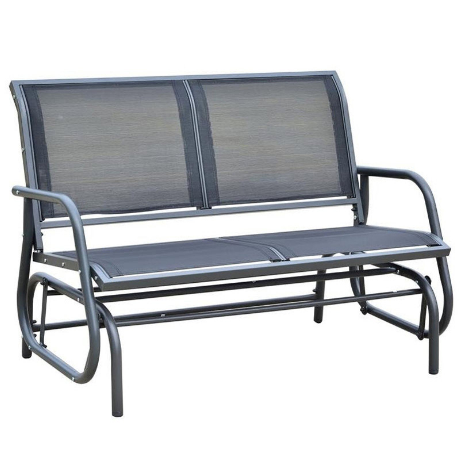 Black Bench Outsunny 48 In Black Steel Outdoor Glider Bench