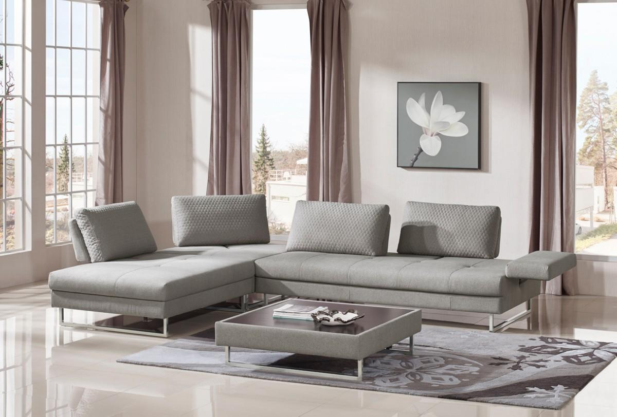 Baxter Divani Outlet Vig Divani Casa Baxter Grey Fabric Sectional Sofa Coffee Tables 3ps Contemporary