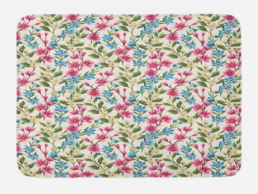 Flower Bath Mat Blooming Spring Flowers On Branches