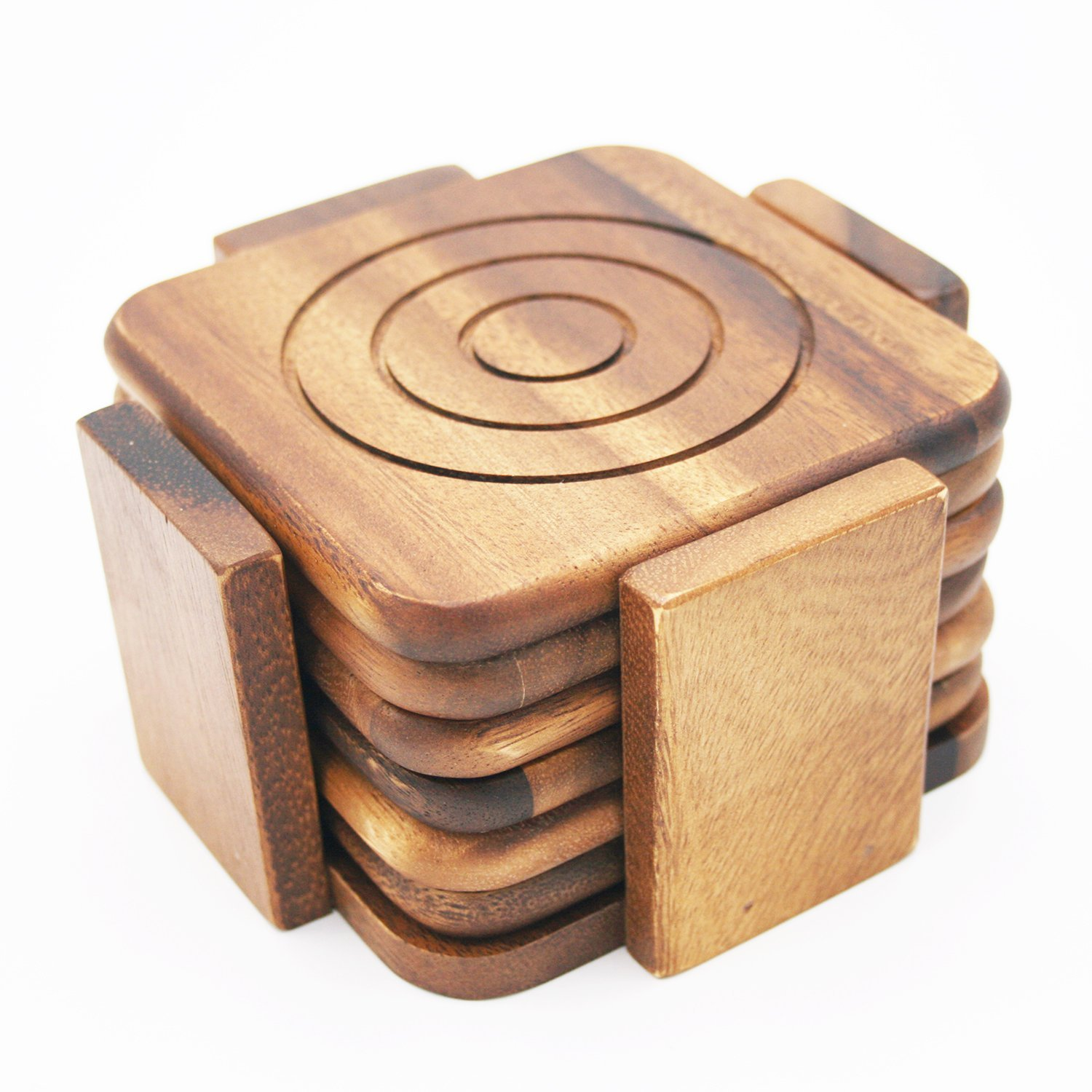 Wooden Coaster Holder Premium Set Of 6 Wood Drink Coasters Acacia Wooden Coasters With