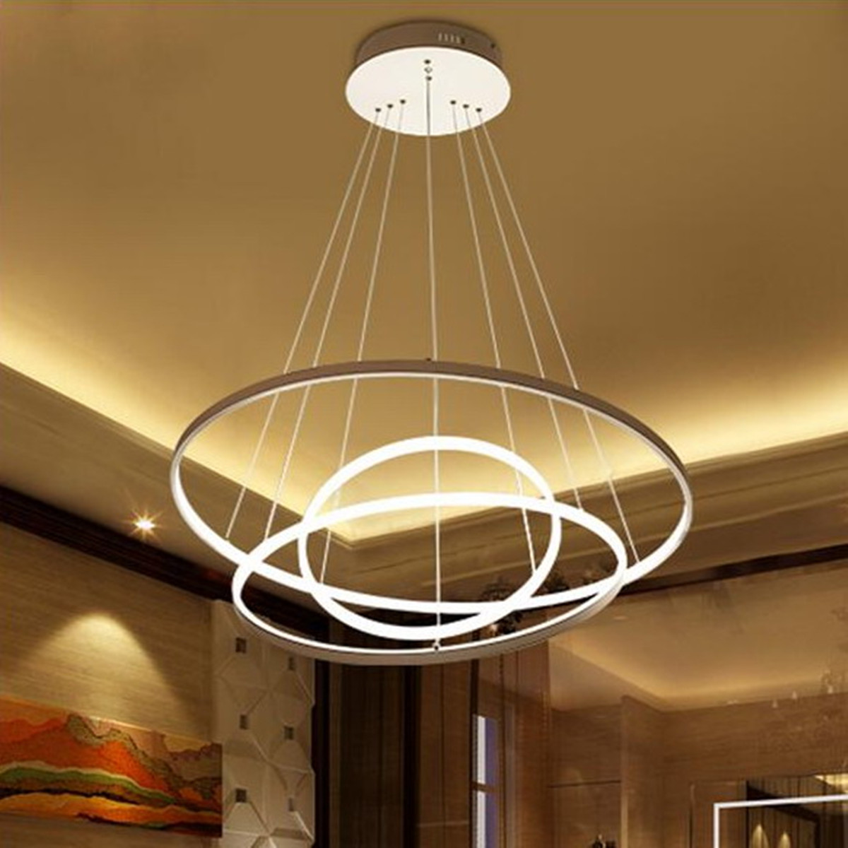 Led Chandelier Meigar Modern Circular Ring Pendant Light Acrylic Aluminum Led Chandelier Ceiling Lamp