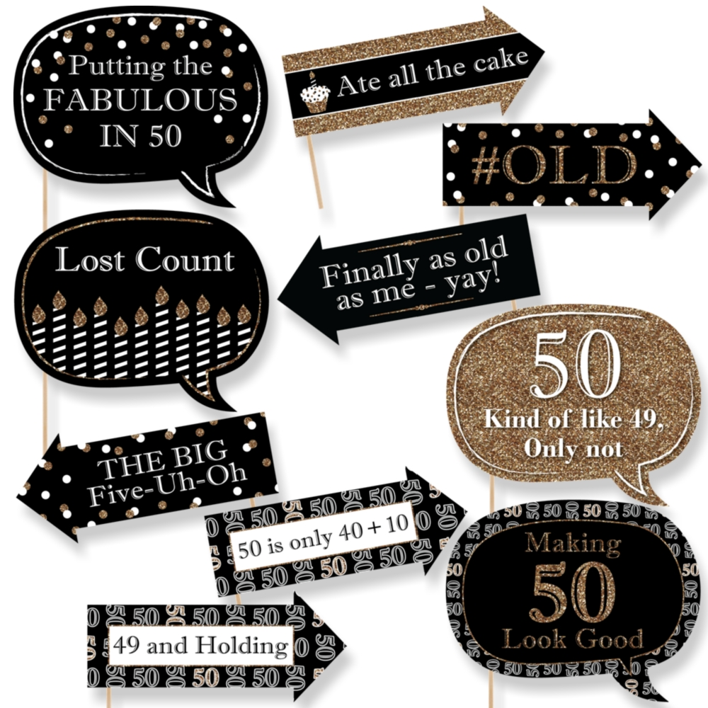 Funny Adult 50th Birthday Gold Party Photo Booth Props Kit 10 Count