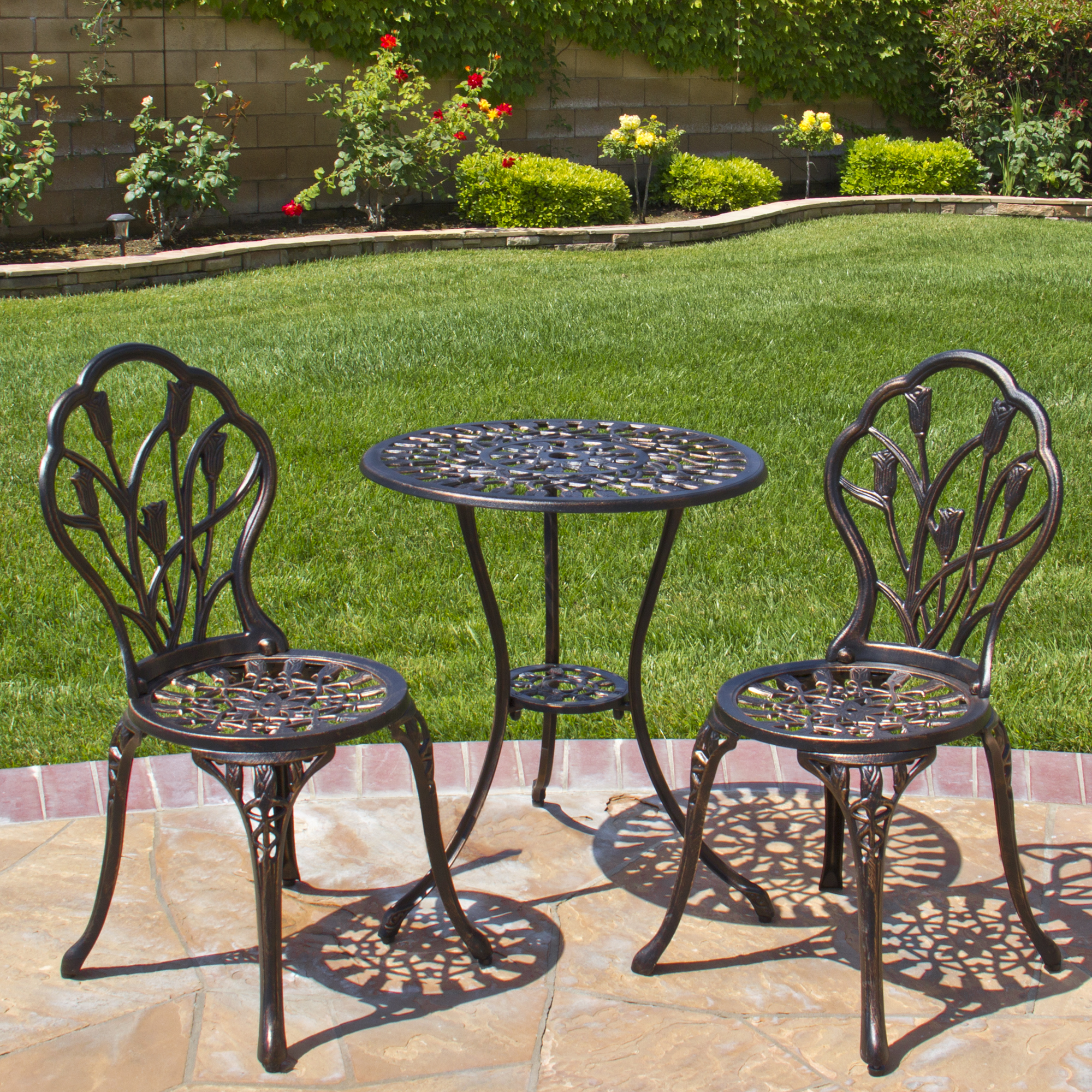 Round Table Patio Furniture Sets Best Choice Products Antique Cast Aluminum 3 Piece Outdoor Bistro