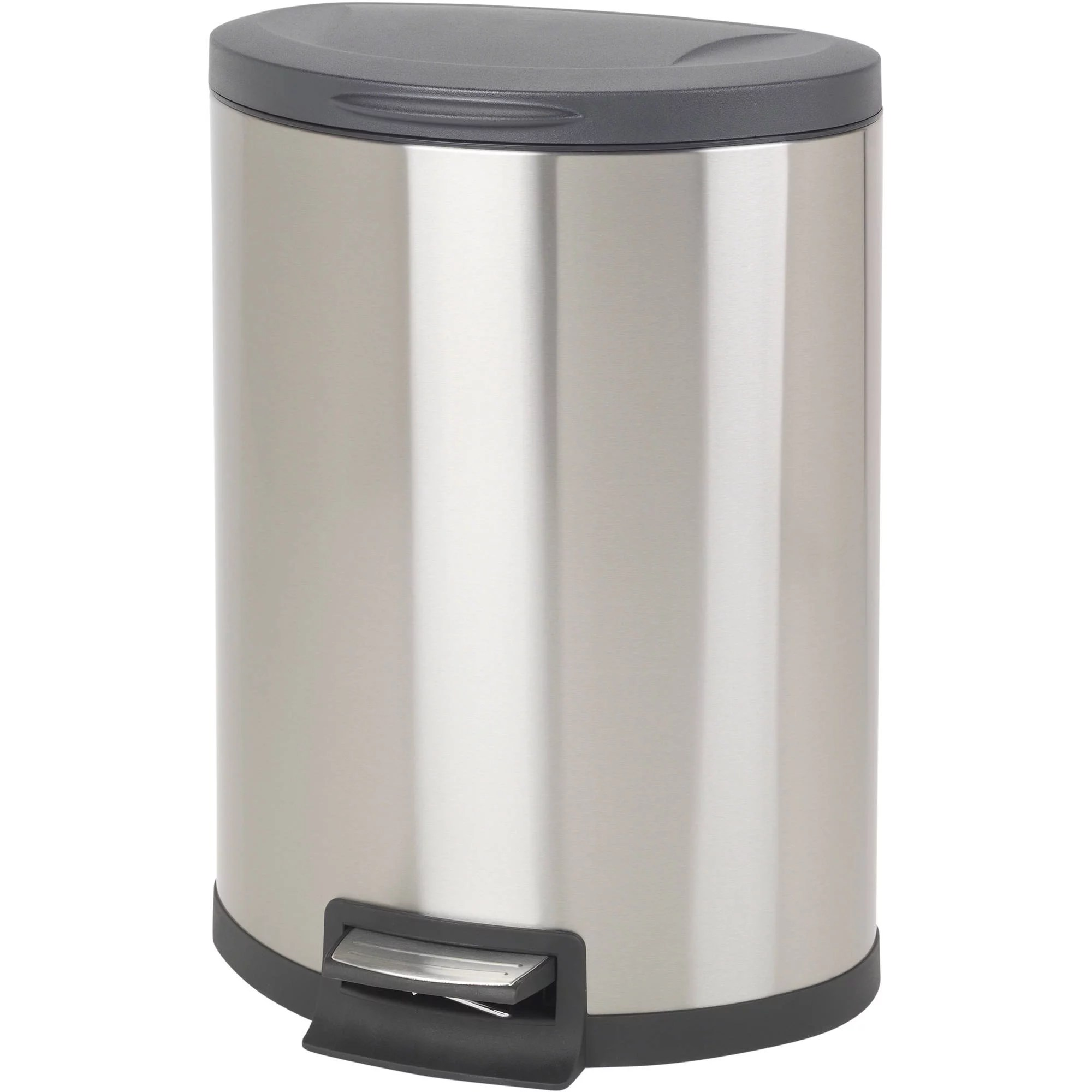 Metal Indoor Trash Can Better Homes Garden 11 8 Gallon Semi Round Stainless Steel Waste Can