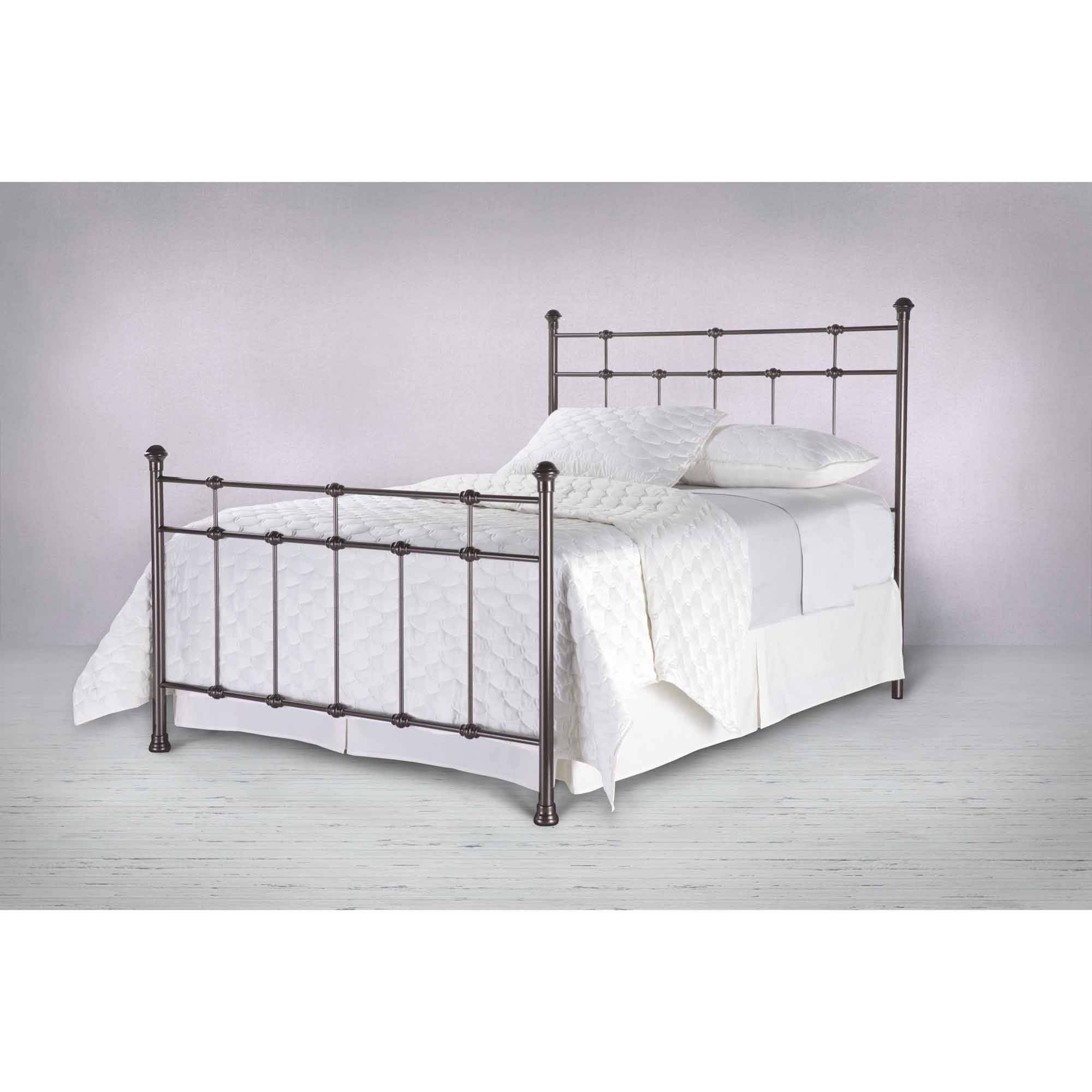 Metal Bed Headboards Dexter Metal Headboard Panel With Decorative Castings And Finial Posts Hammered Brown Finish Queen