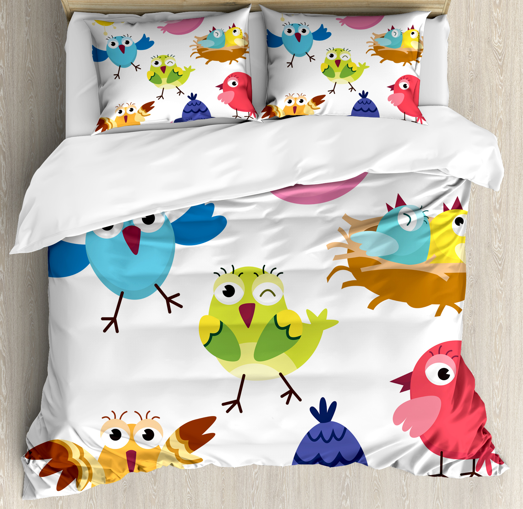 Funny Duvet Covers Bird Duvet Cover Set Funny Happy Cute Colorful Birds And Sun In Cartoon Style Toddler Kids Nursery Theme Decorative Bedding Set With Pillow Shams