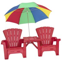 Kids' Adirondack Chair and Table Set with Umbrella, Red ...