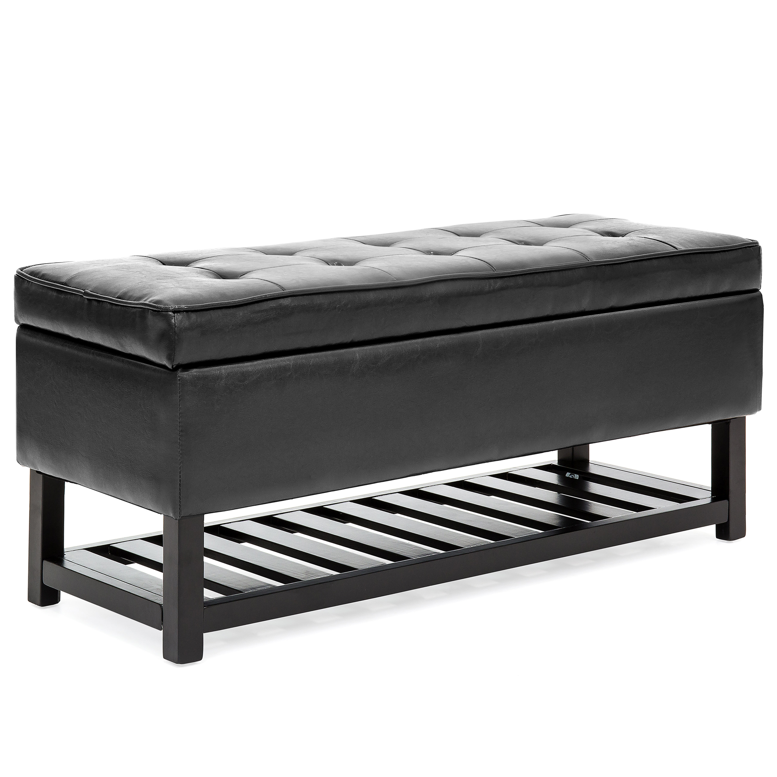 Black Bench Best Choice Products Tufted Faux Leather Storage Ottoman Stool Seat Bench W Safety Hinges Open Bottom Shelf For Shoe Rack Entryway Living Room
