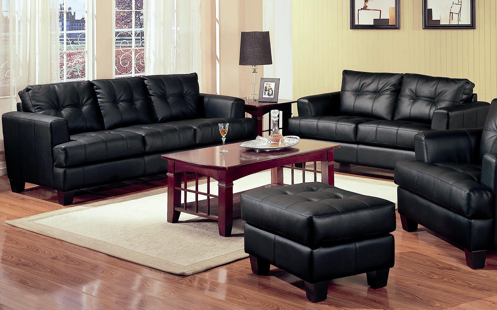 Leather Living Room Furnitures 2 Piece Modern Black Bonded Leather Sofa And Loveseat Livingroom Set