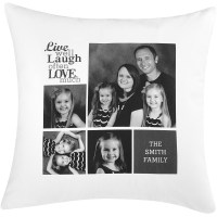 Personalized Live Laugh Love Photo Pillow, Black and White ...