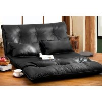 Merax PU Leather Foldable Floor Sofa/Bed with Two Pillows ...