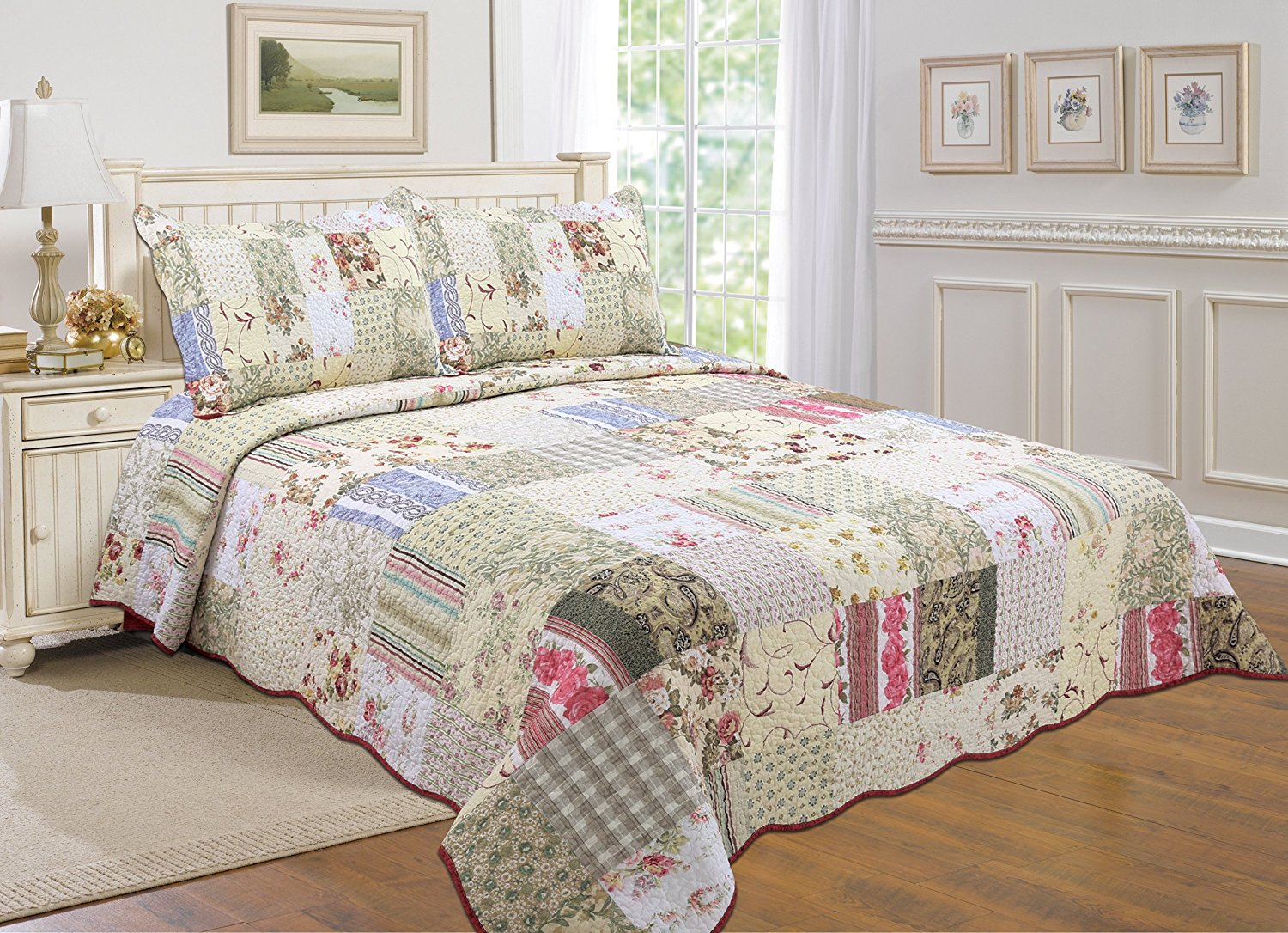 Quilt Sets All For You 100 Cotton 3 Piece Reversible Bedspread Coverlet Quilt Set Oversize Real Patchwork Full Queen 100
