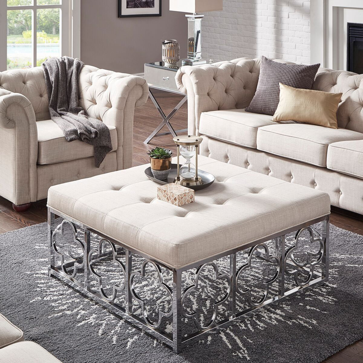 Square Ottoman Coffee Table Weston Home Libby Dimple Tufted Cushion Chrome Quatrefoil Base Square Ottoman Coffee Table Multiple Colors