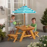 KidKraft Outdoor Table & Bench Set with Umbrella ...