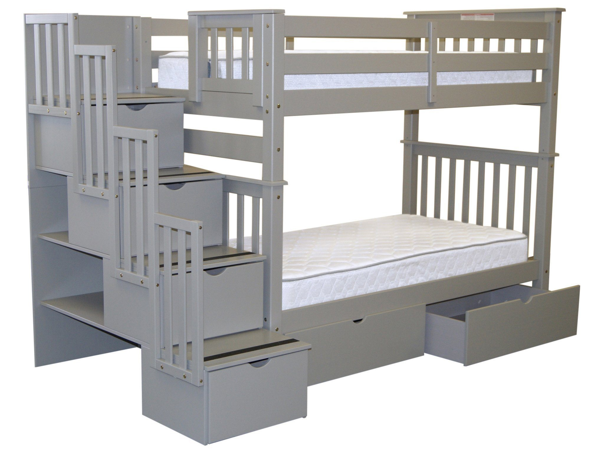 King Single Bed With Drawers Bedz King Tall Stairway Bunk Beds Twin Over Twin With 4 Drawers In The Steps And 2 Under Bed Drawers Gray