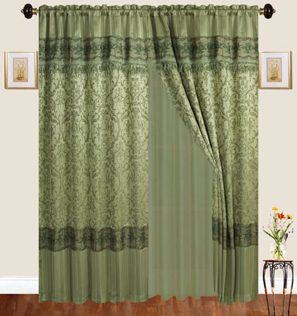 Jacquard Curtains Luxury Jacquard Curtains Sage Green Window Panels With Backing Valance And Tie Backs Emma D122 Sage