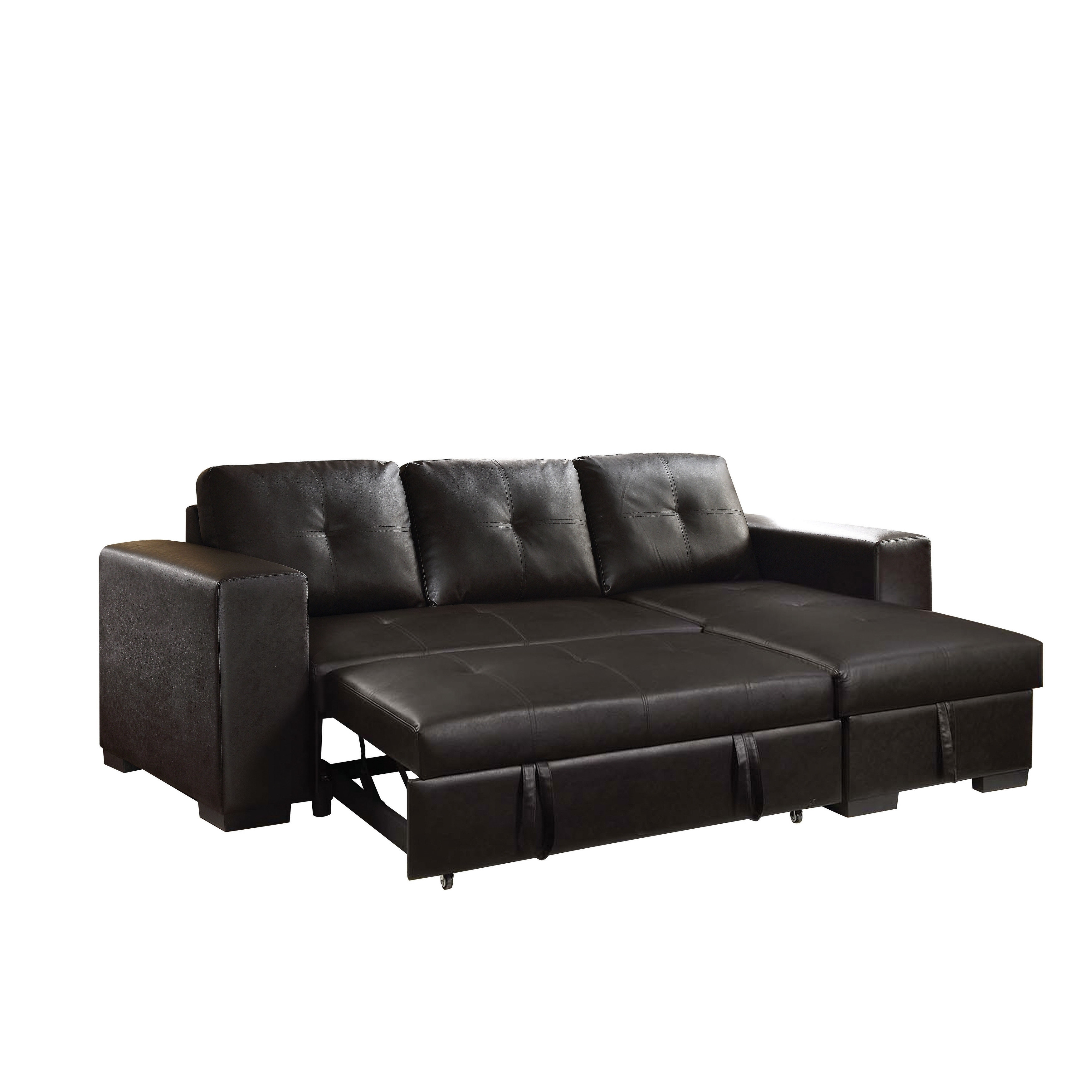 Sectional Pull Out Couch Acme Lloyd Sectional Sofa With Sleeper In Black Faux Leather