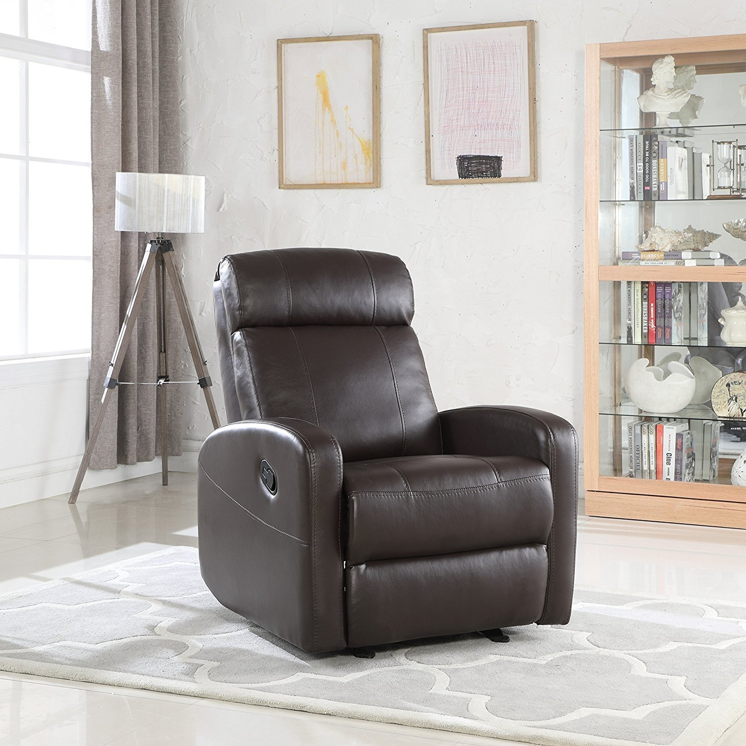Modern Living Room Recliners Overstuffed Sleek Modern Living Room Faux Leather Recliner Chair Black