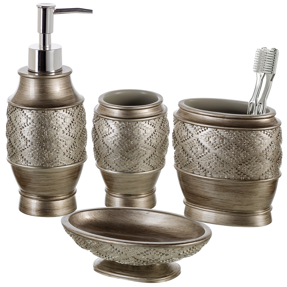 Bathroom Dispenser Set Dublin 4 Piece Bathroom Accessories Set Includes Decorative Countertop Soap Dispenser Dish Tumbler Toothbrush Holder Resin Vanity Ensemble Set